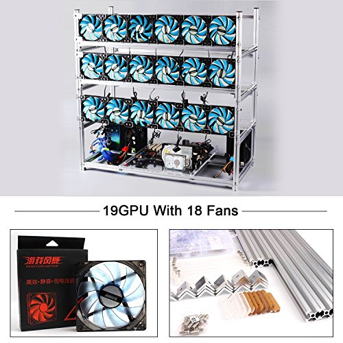 19 GPU Mining Case Rig With 18 LED Blue Fans Aluminum Stackable Open Air Miner Case Frame Bitcon Miner Kit for Ethereum(ETH) ETC  ZCash Bitcoin and Altcoins Unassembled(Silver Frame  Blue Fans)