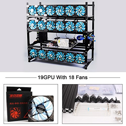 19 GPU Mining Rig With 18 LED Fan  Mining Rig Frame Mining Case Miner Case Aluminum Stackable Open Air FrameFor ETH ETC ZCash Cryptocurrency(Black)