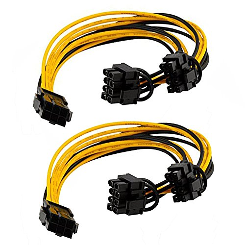 2-Pack  6 Pin to Dual PCIe 8 Pin (6 2) Cable Adapter for Miner  PCIe Splitter 6 Pin to 8 Pin Cable  GPU PCIe Power Supply Adapter Mining  Graphics Card PCI Express VGA Splitter Extension Cable