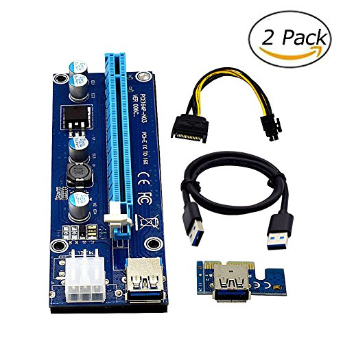 2PCS PCI-E Riser Card 6Pin Powe 1 to 16x For Video Card BTC Miner Machine PCI-E Extender USB3 0 Cable Adapter with SATA Cable for Mining Bitcoin Litecoin(2pcs Riser Adapter Card)