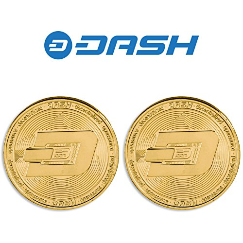 2PCs Gold Plated Dash Coin   Perfect Novelty Gift or Souvenir for Blockchain Enthusiasts