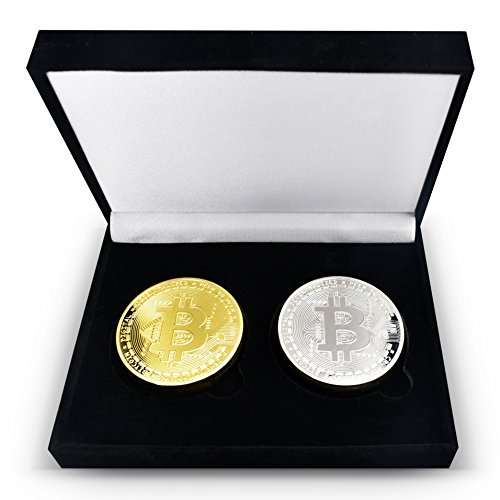 2Piece Set - Gold   Silver Plated Bitcoins Set w  Unique Bitcoin Velvet Display Case to HODL Cryptocurrency - Limited Edition BTC