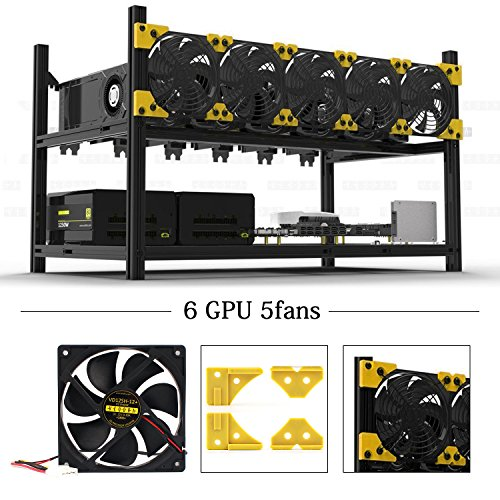 6 GPU Mining Rig Case With 5 PCS Extreme Airflow 120mm Case Fan  Aluminum Stackable Miner Case Open Air Frame Unassembled Kit For ETH ETC ZCash Ethereum Bitcoin and Altcoins(Classic)