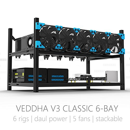 Aluminum GPU Mining Case Rig Open Air Frame For ETH ETC  ZCash (6 GPU)