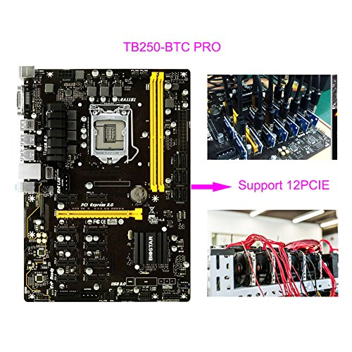 BIOSTAR TB250-BTC LGA1151 DDR4 Support 12 PCIE Graphics Cards PRO ATX Motherboards For Mining Machine (12-PCIE)