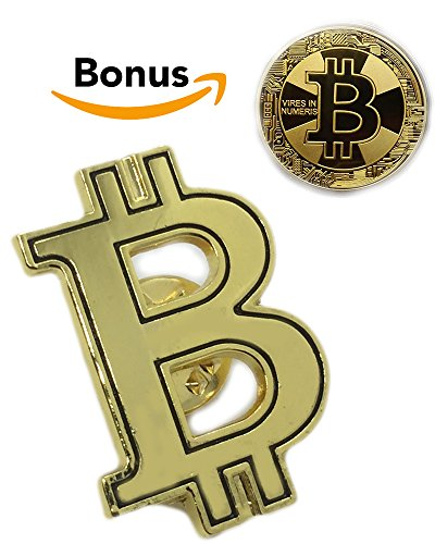 Bitcoin Coin Set   Gold Plated Bitcoin Coin and Gold Plated Bitcoin Lapel Pin   Bitcoin Set For The Cryptocurrency Community   BTC Set