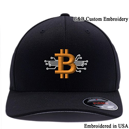 Bitcoin Hat  Bitcoin Digital Currency  Embroidered  6477 Flexfit Baseball Cap  (S M  Black)