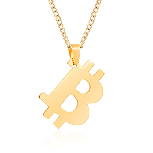 Bitcoin Necklace with 20 inch Chain Rust-Free Stainless Steel Gold Plated Pendant Jewelry for Men and Women - Unique Psychical Collectible Digital Currency Fashion   Gift Pouch   1 Free Coin Included
