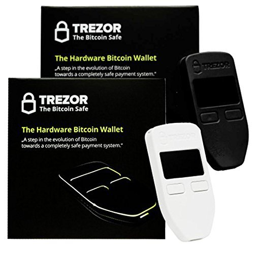 Black   White Combo Trezor Hardware wallet vault safe for digital virtual currency Bitcoin Litecoin