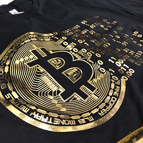 D R DETROIT REBELS (0075) Golden Bitcoin T-Shirt For Crypto Currency Traders  Bitcoin Gold Logo