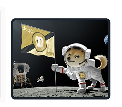 Dogecoin 11 8-inch by 9 85-inch Computer Mouse Pad with Neoprene Backing and Jersey Surface