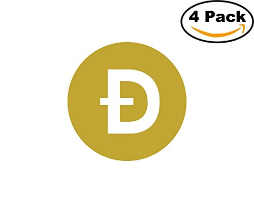 Dogecoin 4 Stickers 4X4 inches Car Bumper Window Sticker Decal