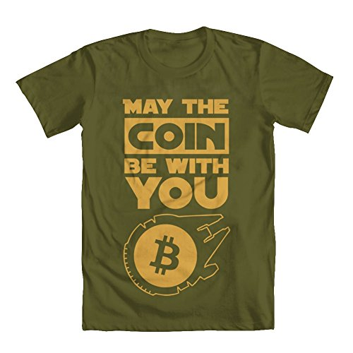 GEEK TEEZ Bitcoin Star Wars Men's T-Shirt Green Medium