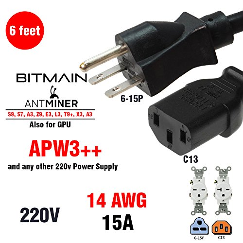 HEAVY DUTY Power Cord 220-250v UL 14 AWG 6-15P  Works for BITMAIN MINER APW3   for Antminer A3  S9  D3  L3  T9  V9 and also ETH and many CryptoCoin Miners