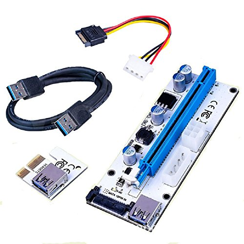 KSSHOP Powered Riser Adapter Card Spring Slot Three Power Interfaces PCIE 1x to 16x Express Riser Cable Card USB 3 0 Stable Data Miner Litecoin