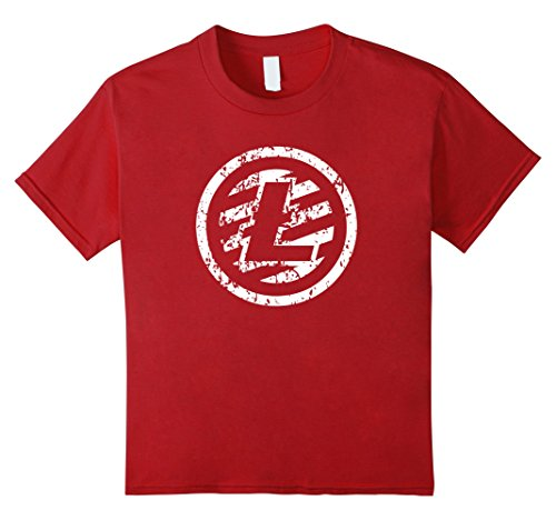 Kids Distressed Litecoin Logo T-shirt - Very cool grunge LTC Tee 10 Cranberry