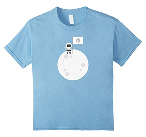Kids Litecoin To The Moon    Astronaut Graphic LTC Flag T-Shirt 10 Baby Blue