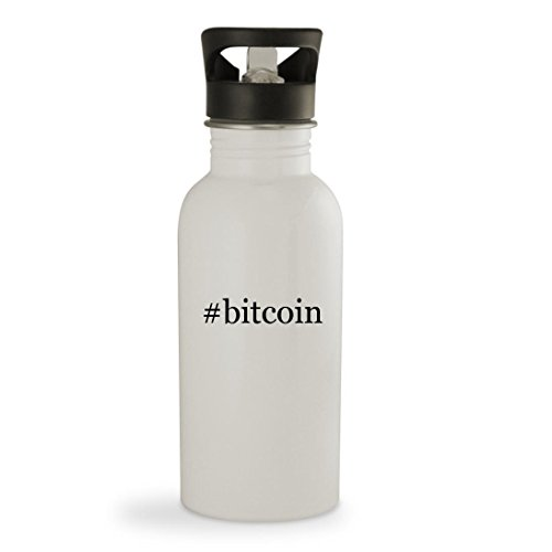 Knick Knack Gifts  Bitcoin - 20oz Hashtag Sturdy Stainless Steel Water Bottle  White