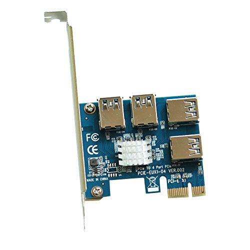 Leboo 4 in 1 PCI-E Riser Adapter Board USB3 0 PCI-E Rabbet GPU Riser Extender Ethereum Mining ETH   BTC Bitcoin Miner Mining(4 in 1)