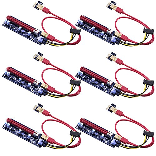 Mailiya 6-Pack PCIe Dual Chip PCI-E 16x to 1x Powered Riser Adapter Card w  60cm USB 3 0 Extension Cable   6 Pin PCI-E to SATA Power Cable - GPU Riser Adapter Extender Cable - Ethereum Mining ETH