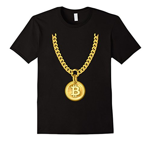 Mens Bitcoin Cryptocurrency Funny Necklace T-Shirt XL Black
