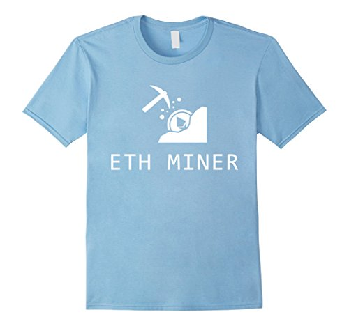 Mens Ethereum Miner T-Shirt XL Baby Blue