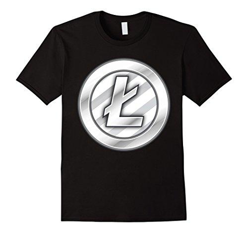 Mens Litecoin Logo Cryptocurrency T-Shirt 2XL Black