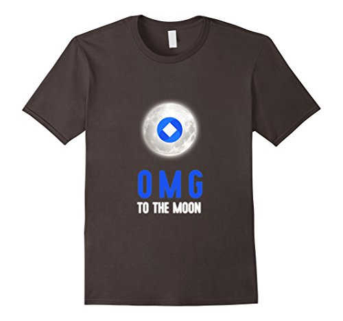 Mens OmiseGo OMG Logo To The Moon Cryptocurrency T-Shirt Medium Asphalt