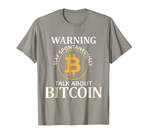 Mens Warning May Spontaneously Talk About Bitcoin - Funny T-Shirt Large Slate