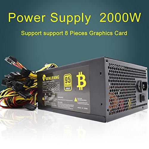 Mining Power Supply  2000W ATX Gold Mining Power Supply SATA IDE 8 GPU for Bitcoin Ethereum Mainboard  24Pin