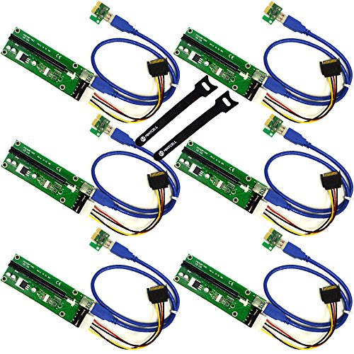 MintCell 6-Pack PCIe 4-Pin MOLEX PCI-E 16x to 1x Powered Riser Adapter Card w 60cm USB 3 0 Extension Cable   MOLEX to SATA Power Cable - GPU Riser Adapter Ethereum Mining ETH   2 Cable Ties