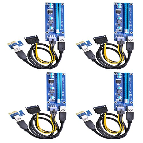 Optimal Shop PCI Express 16x to 1x Powered Riser Adapter Card w 60cm USB 3 0 Extension Cable and 6-Pin PCI-E to SATA Power Cable-GPU Riser Extender Cable-Ethereum Mining ETH(4 Pack 6 Pin)
