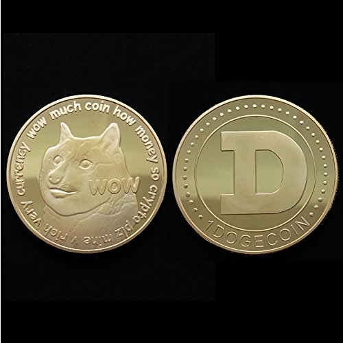 Ruier-hui Gold Plated Bitcoin Coin DogecoinCommemorativeCoin Challenge Coin Gift Collectible Coins Commemorative Crown Coin with Container