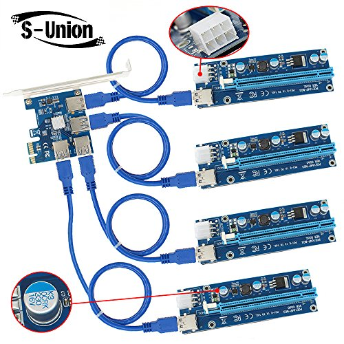 S-Union 4 in 1 PCI-E Riser Adapter Board  6-Pins VER 006C PCl-E 16x to 1x Powered Riser Adapter Card with 50cm USB 3 0 Extension Cable   Molex SATA Power Cable   GPU Riser Adapter Ethereum Mining ETH