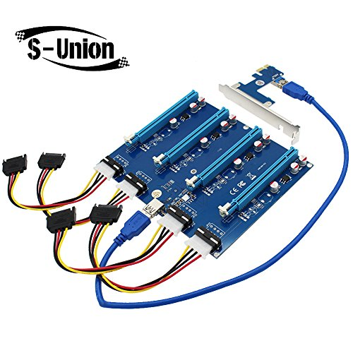 S-Union New PCI-E X1 to 4PCI-E X16 Expansion Kit  1 to 4 Port PCI Express Switch Multiplier HUB Riser Card for BTC Miner Ethereum Mining ETH