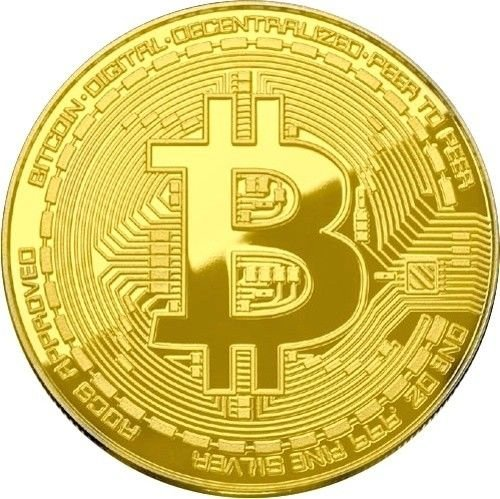 TheGag Bitcoin Coin Gold Plated (PACK 10) Physical Cryptocurrency Collectible Good Luck Token With Protective Case Included (Gold) Wholesale Bulk Pack Lot