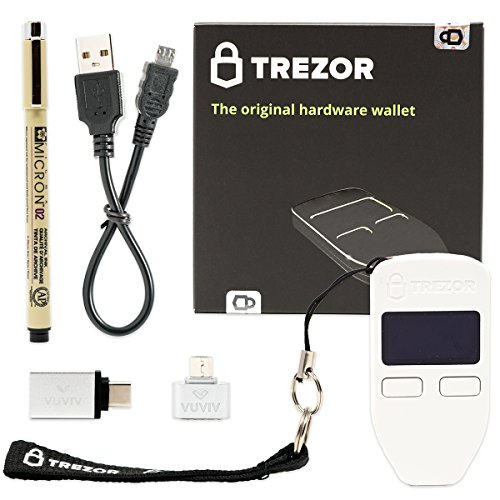 Trezor (White) Bitcoin Hardware Wallet with VUVIV Micro-USB Adapter  VUVIV USB-C Adapter for MacBook and Sakura Pigma Archival Ink Pen (4 items)