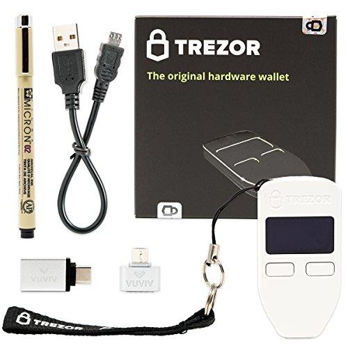 Trezor (White) Bitcoin Hardware Wallet with VUVIV Micro-USB Adapter  VUVIV USB-C Adapter for MacBook and Sakura Pigma Archival Ink Pen (4 items)