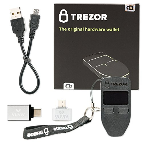 VUVIV Trezor (Black) Bitcoin Wallet Bundle With Micro-USB Adapter and USB-C Adapter for MacBook (3 items)
