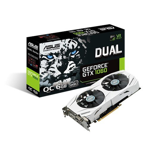 ASUS GeForce GTX 1060 6GB Dual-Fan OC Edition VR Ready Dual HDMI DP 1 4 Gaming Graphics Card (DUAL-GTX1060-O6G)
